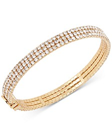 Silver-Tone Crystal Thin Bangle Bracelet