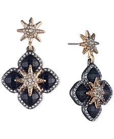 Two-Tone Crystal Star Drop Earrings
