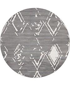 Carnegie Hill Uptown Jzu006 Gray 8' x 8' Round Rug