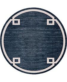 Lenox Hill Uptown Jzu005 Navy Blue 8' x 8' Round Rug