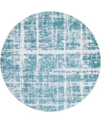 Lexington Avenue Uptown Jzu003 Turquoise 8' x 8' Round Rug