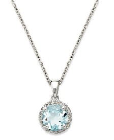 14k White Gold Necklace, Aquamarine (1 ct. t.w.) and Diamond Accent Pendant