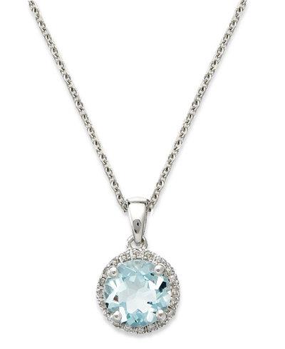 14k White Gold Necklace, Aquamarine (1 ct. t.w.) and Diamond Accent Pendant