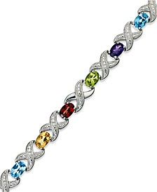 Semi-Precious Stone and Diamond Accent X0 Link Bracelet Collection in Sterling Silver