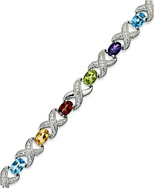 Multi Stone (6-1/2 ct. t.w.) and Diamond Accent XO Bracelet in Sterling Silver