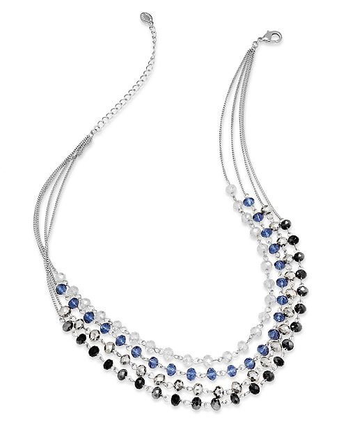 INC International Concepts I.N.C. Necklace, Silver-Tone Multi-Color Bead Four-Row Necklace