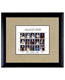 "American Dolls Stamp Sheet in Wood Frame, 16"" X 14"""