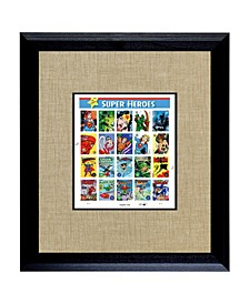 "Super Heroes U.S. Stamp Sheet in Wood Frame, 16"" X 14"""
