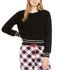 Women's Cropped Faux Sherpa Pajama Top, Created for Macy's