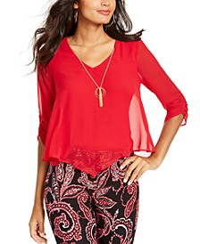 Ruched-Sleeve Necklace Top, Created for Macy's