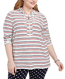 Plus Size Striped Cotton Hoodie Tunic