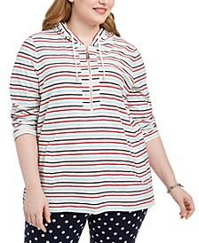 Plus Size Striped Cotton Hoodie Tunic