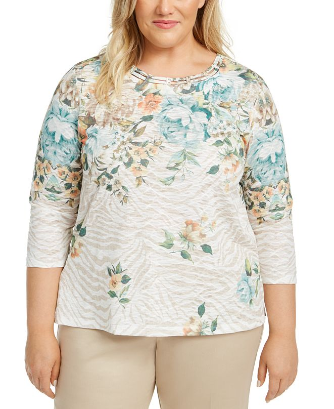 Alfred Dunner Plus Size Cottage Charm Floral-Print Top