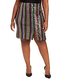 INC Plus Size Sequinned Striped Midi Skirt, Created For Macy's