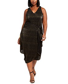 Trendy Plus Size Metallic Pleated Dress
