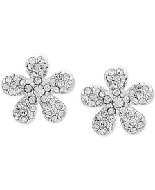 Silver-Tone Pavé Flower Button Earrings