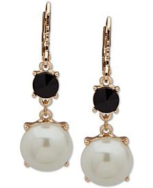 Gold-Tone Stone & Imitation Pearl Drop Earrings