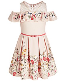 Big Girls Belted Embroidered Cold-Shoulder Dress & Necklace