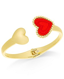 Gold-Tone Heart Hinged Cuff Bracelet, Created For Macy's