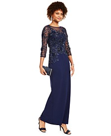 Sequined Illusion-Yoke Column Gown