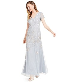 Embellished Short-Sleeve Trumpet Gown