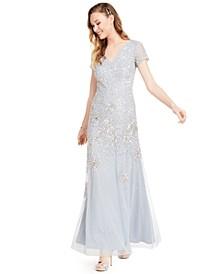 Embellished Short-Sleeve Trumpet Gown