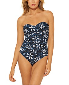 Printed Bandeau One-Piece Swimsuit