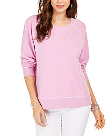 Style & Co Contrast-Stitched Sweatshirt, Created For Macy's