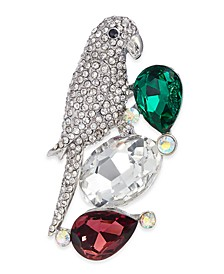 Silver-Tone Crystal & Stone Bird Boxed Pin, Created For Macy's
