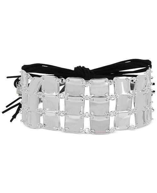 "Robert Lee Morris Soho Silver-Tone Sculptural Square & Suede Tie 33"" Adjustable Choker Necklace"