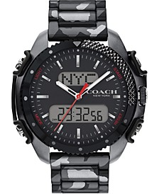 Men's Analog-Digital Gray Camo Stainless Steel Bracelet Watch 46mm, A Limited Edition & Created for Macy's