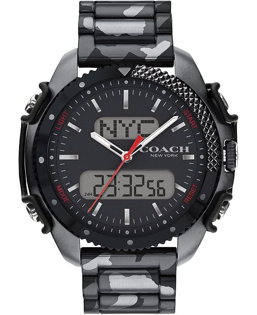 COACH Men's Analog-Digital Gray Camo Stainless Steel Bracelet Watch 46mm, A Limited Edition & Created For Macy's
