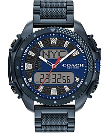 Men's Analog-Digital Blue Stainless Steel Bracelet Watch 46mm, A Limited Edition & Created for Macy's