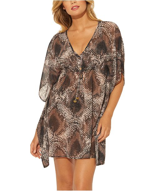 Bleu by Rod Beattie Python Printed Caftan Cover-Up
