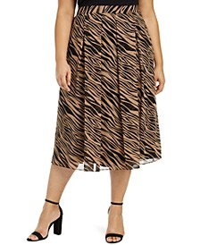Plus Size Printed Pleated A-Line Skirt