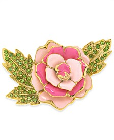 Gold-Tone Crystal Pink Rose Pin, Created For Macy's