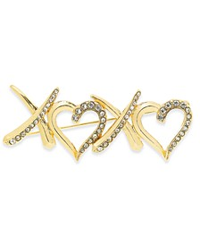 Gold-Tone Crystal XOXO Pin, Created For Macy's