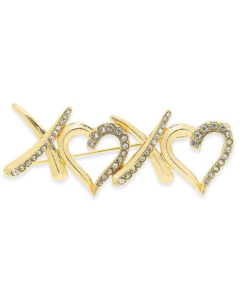 Charter Club Gold-Tone Crystal XOXO Pin, Created For Macy's