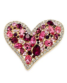Gold-Tone Multi-Crystal Heart Pin, Created For Macy's