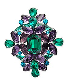 Silver-Tone Multicolor Crystal Cluster Pin, Created For Macy's