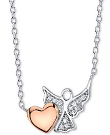 Cubic Zirconia Heart & Angel Pendant Necklace in Sterling Silver & Rose Gold-Plate