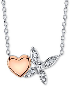 Cubic Zirconia Heart & Butterfly Pendant Necklace in Sterling Silver & Rose Gold-Plate