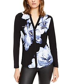 INC Floral Printed Zip-Detail Top, Created for Macy's