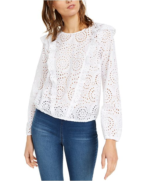 INC International Concepts INC Ruffled Eyelet Top, Created For Macy's