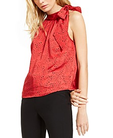 INC Heart-Print Bow Top, Created For Macy's