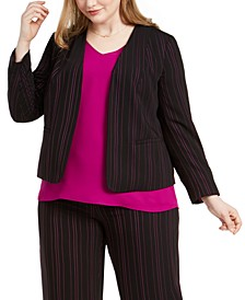 Trendy Plus Size Striped Blazer, Created For Macy's