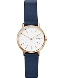 Women's Signatur Navy Leather Strap Watch 30mm