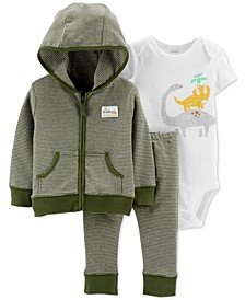 Baby Boys 3-Pc. Cotton Dinosaur-Print Hoodie, Bodysuit & Pants Set