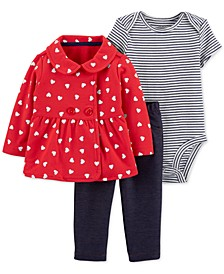 Baby Girls 3-Pc. Heart-Print Cardigan, Striped Bodysuit & Denim Pants Set