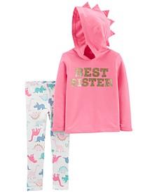 Baby Girls 2-Pc. Best Sister Hoodie & Dinosaur-Print Leggings Set